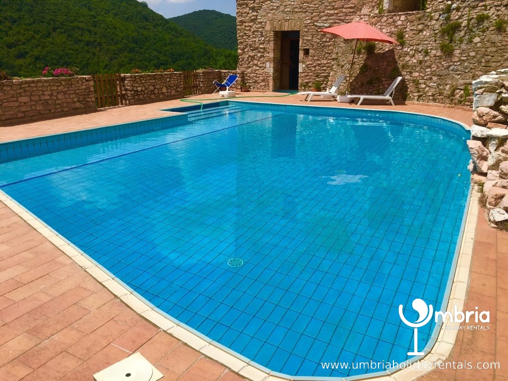 private shared pool with sun deck, where you can eat alfresco